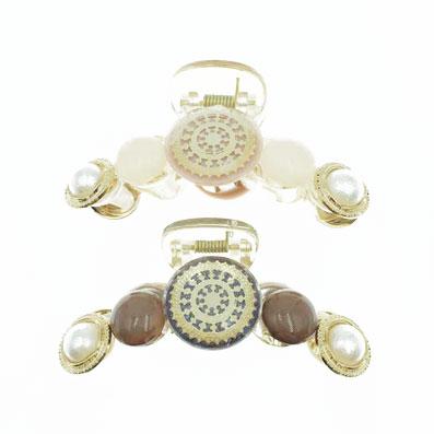 韓國 金屬 珍珠 復古 造型 透明感 兩色 髮飾 鯊魚夾