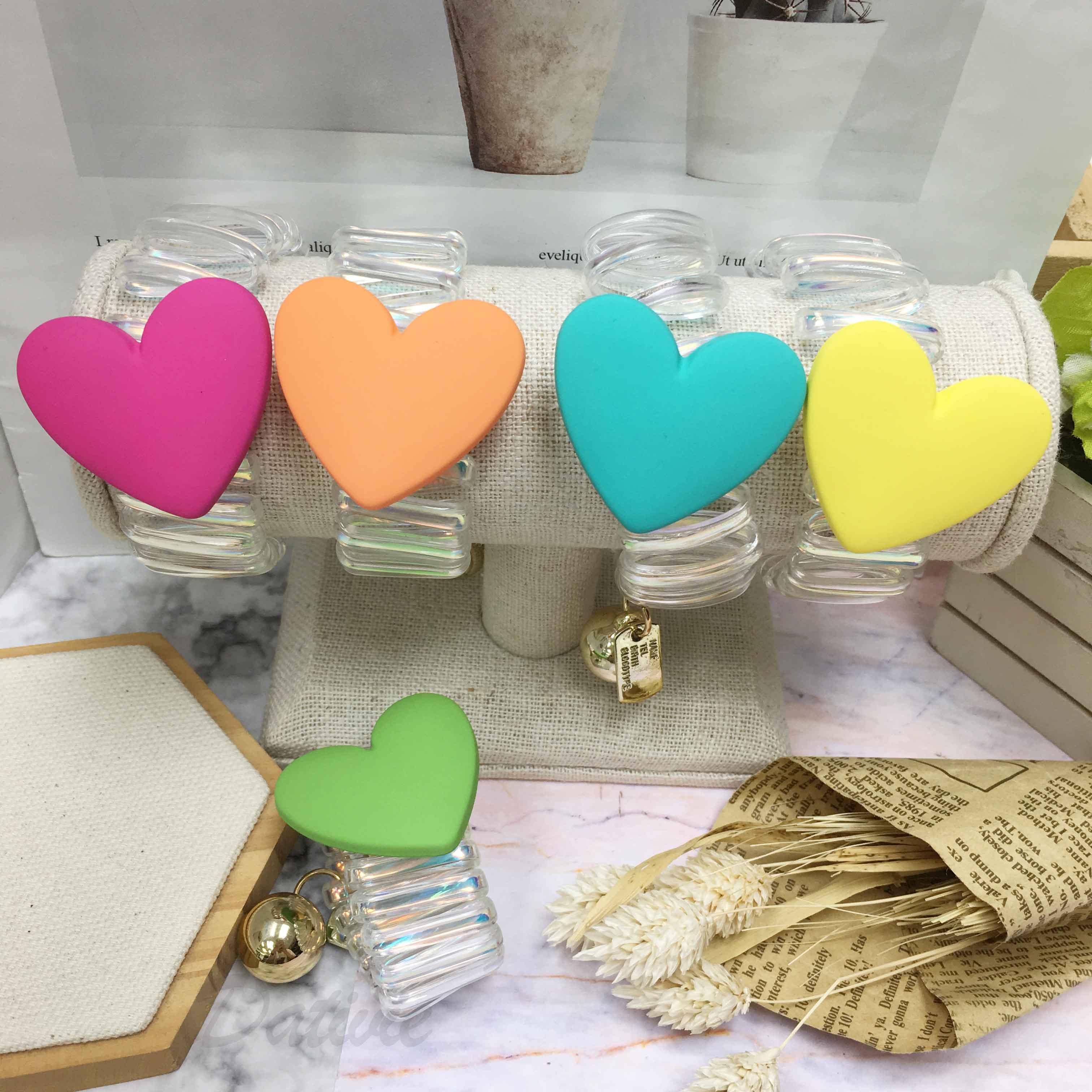 韓國 彩色愛心 造型 五色 髮飾 電話線 髮圈