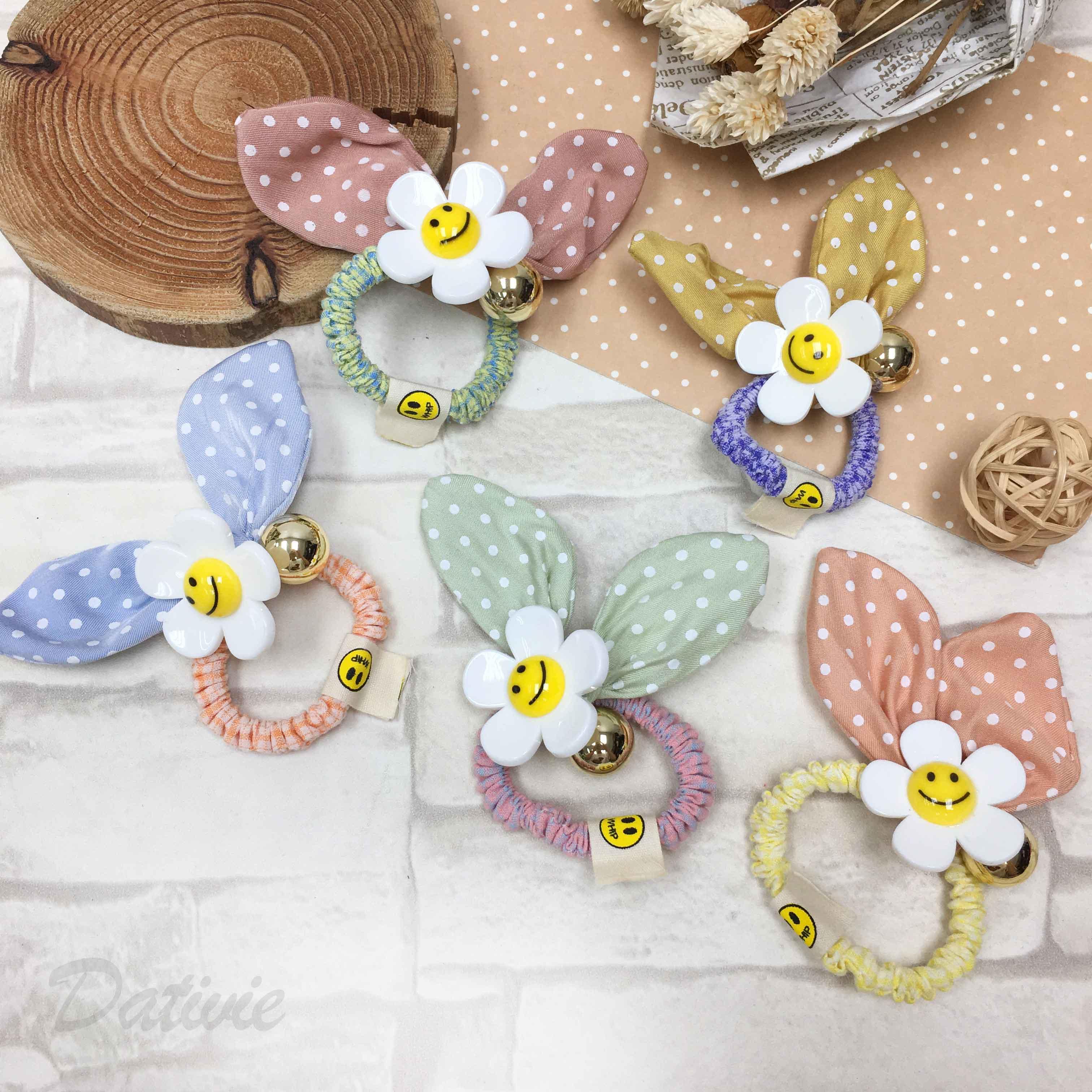 韓國 圓點 兔耳 小白花 笑臉 五色 髮飾 髮束