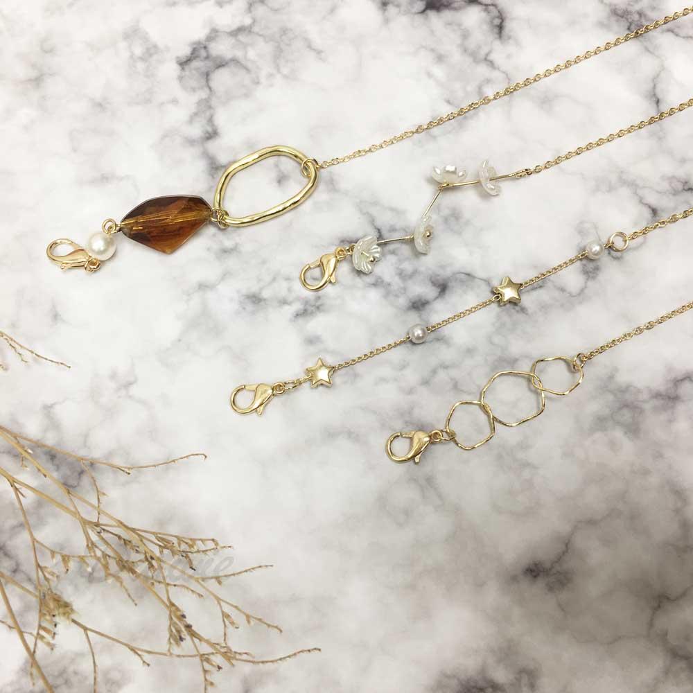 韓國 小白花 星星 金屬 簍空 不規則石 口罩鍊