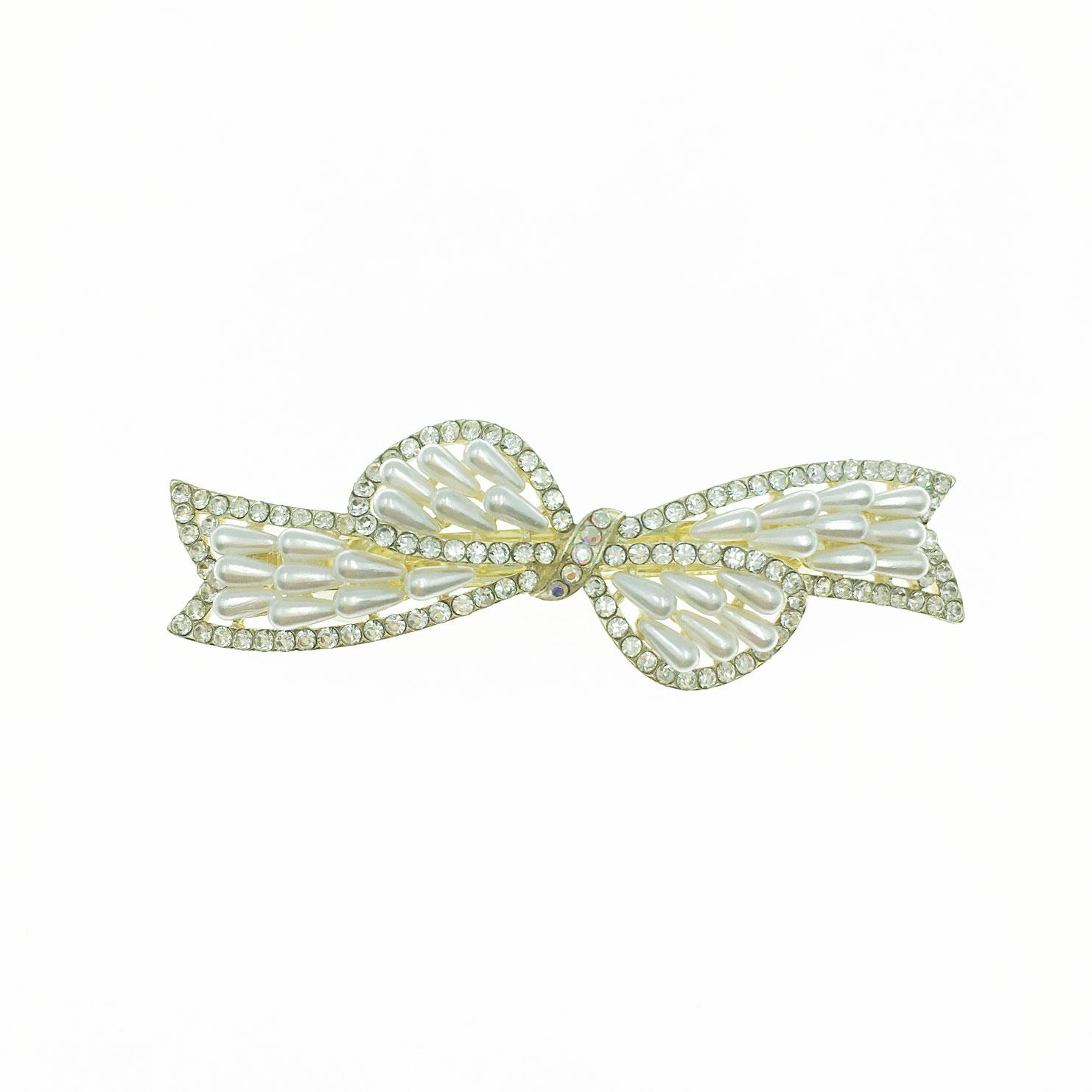 韓國 水鑽 珍珠 蝴蝶結 自動夾 髮飾
