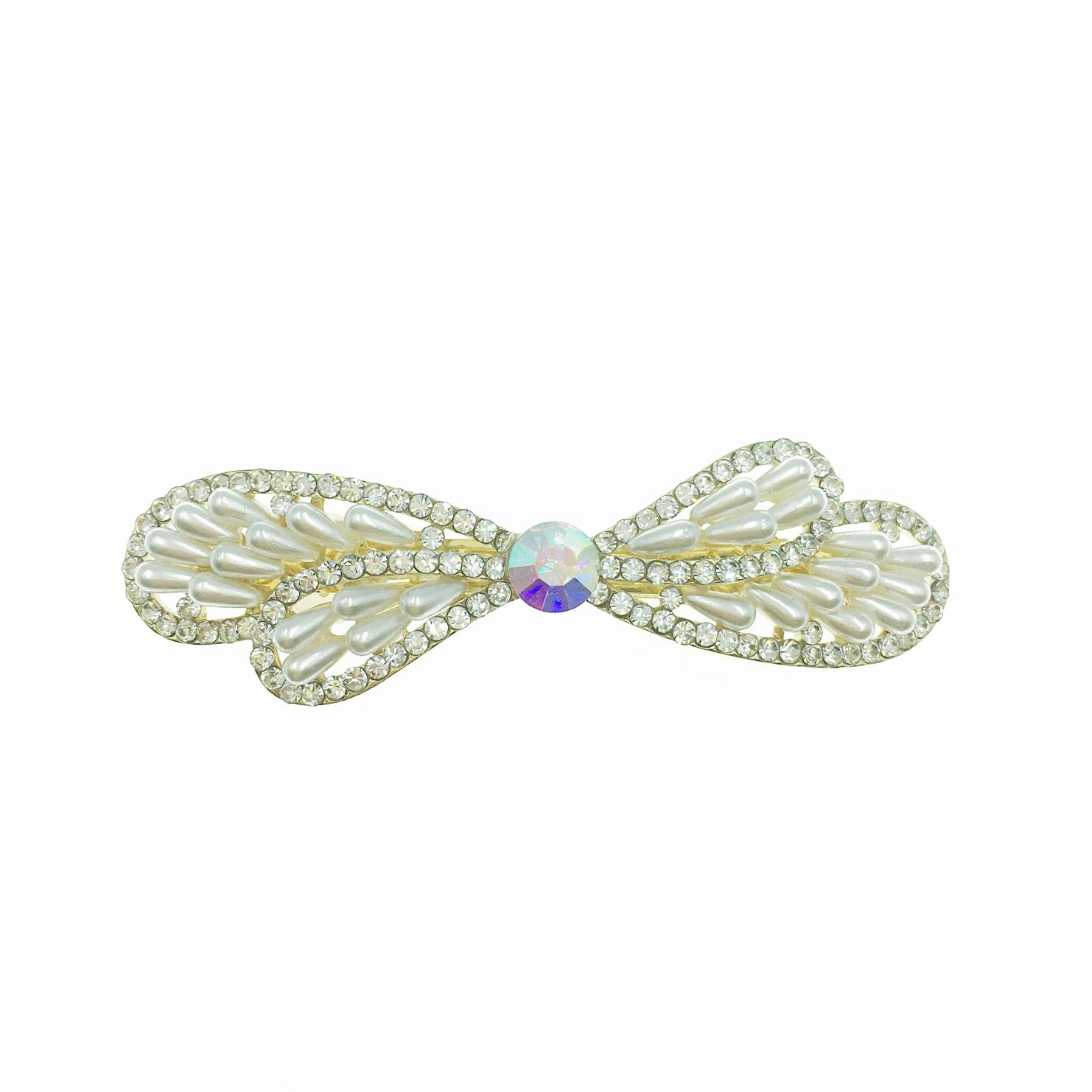 韓國 水鑽 珍珠 雙層 蝴蝶結 自動夾 髮飾