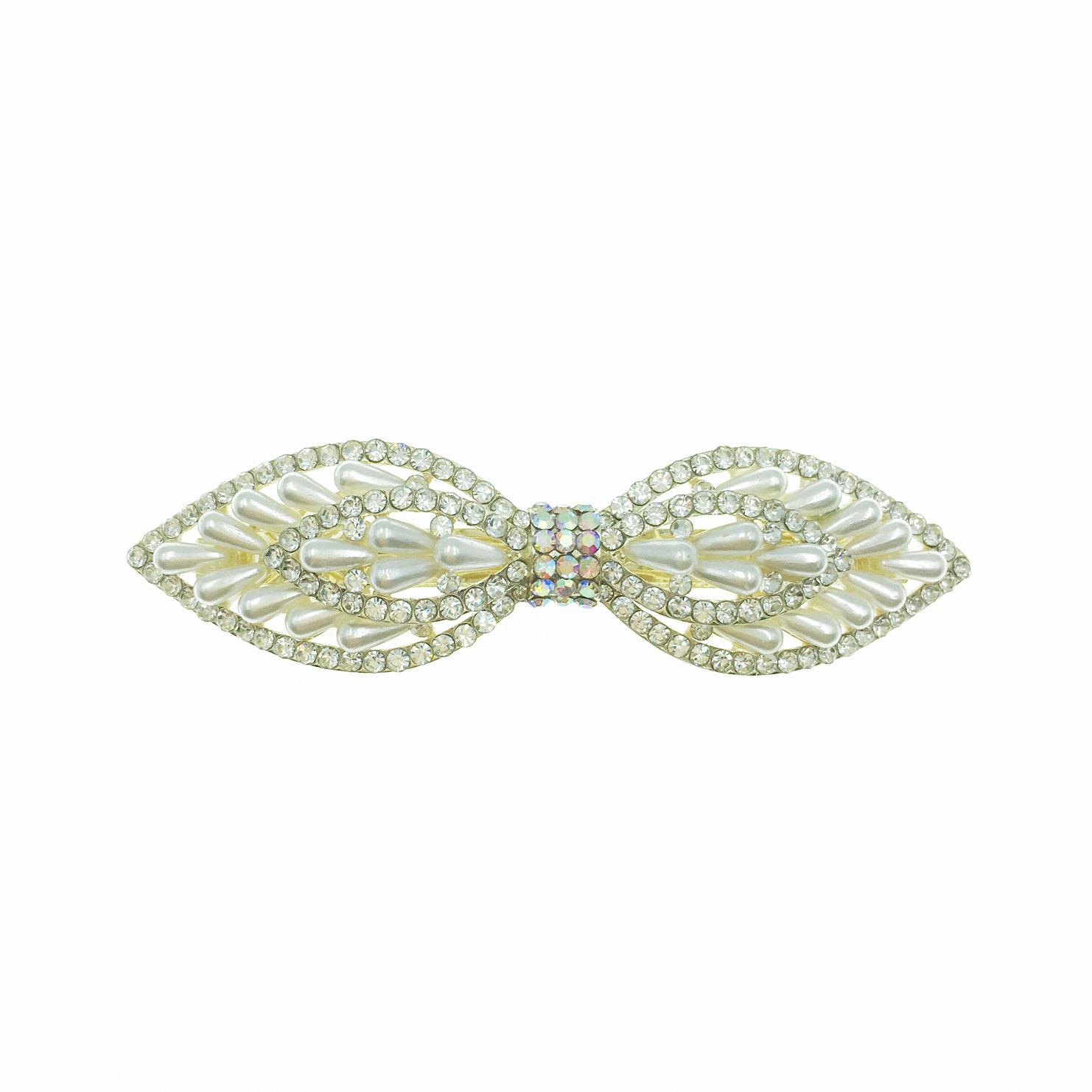 韓國 水鑽 珍珠 尖頭 蝴蝶結 自動夾 髮飾