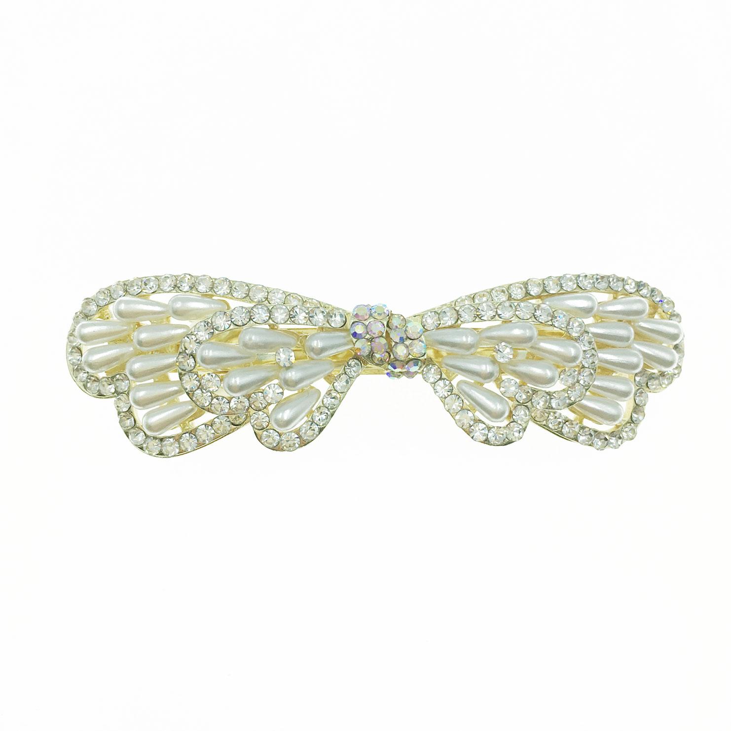 韓國 水鑽 珍珠 曲線 造型 蝴蝶結 自動夾 髮飾