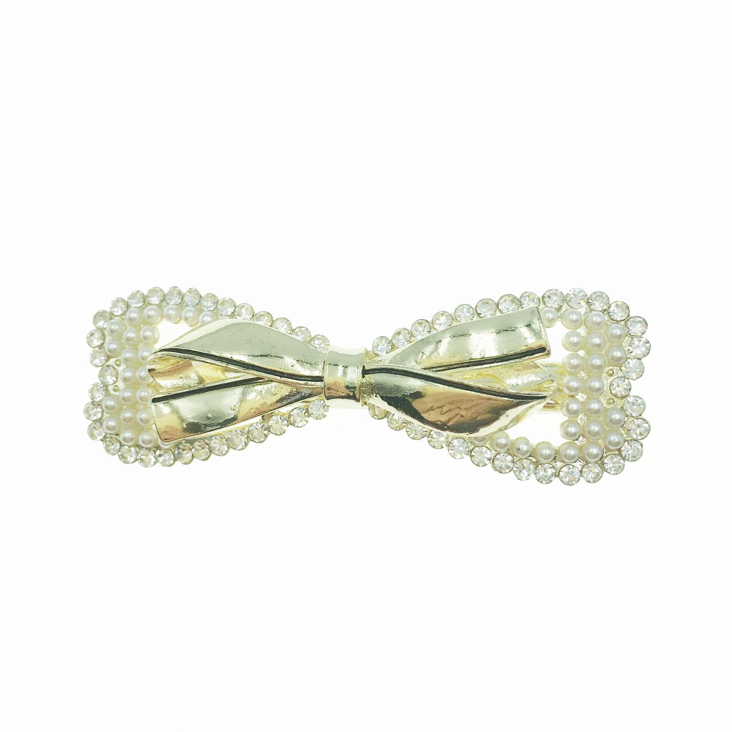 韓國 水鑽 珍珠 金屬 雙層 蝴蝶結 造型 壓夾 髮飾