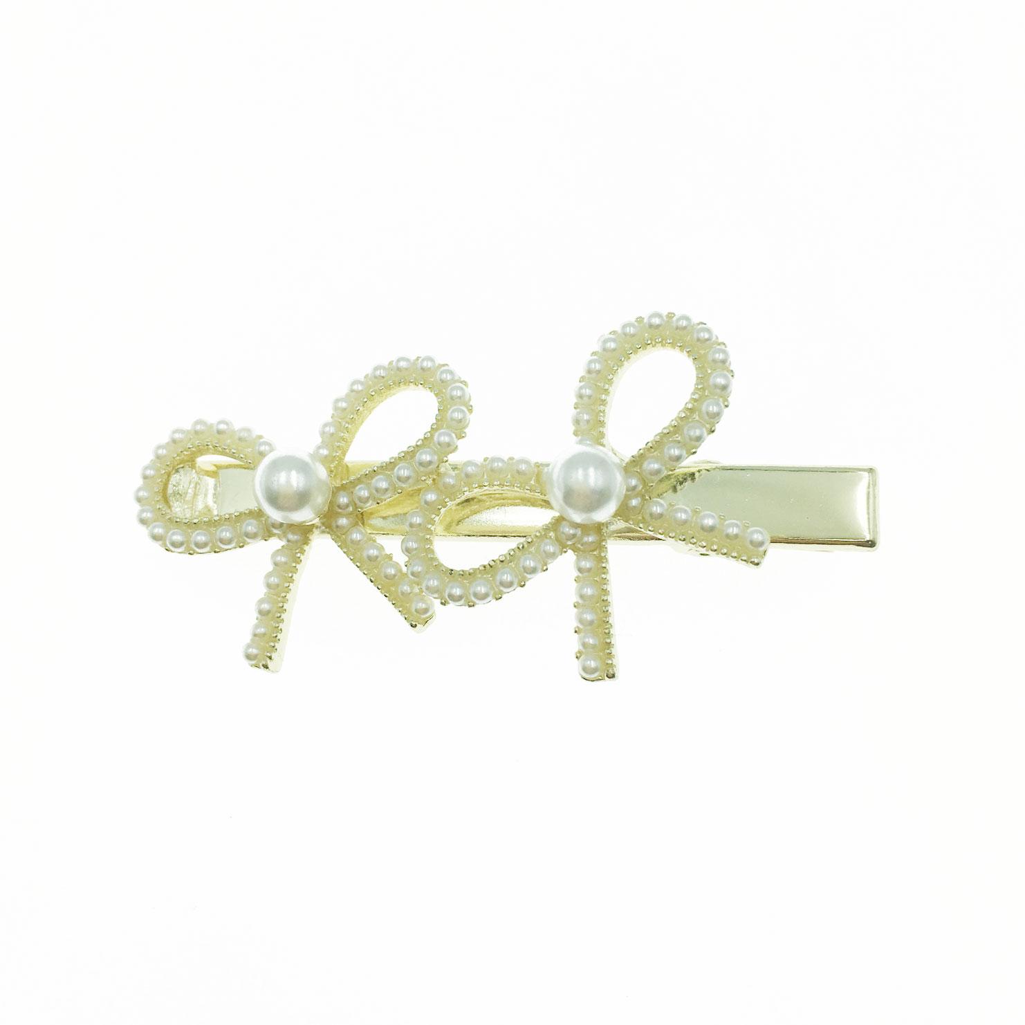 韓國 水鑽 珍珠 簍空 蝴蝶結 造型 壓夾 髮飾