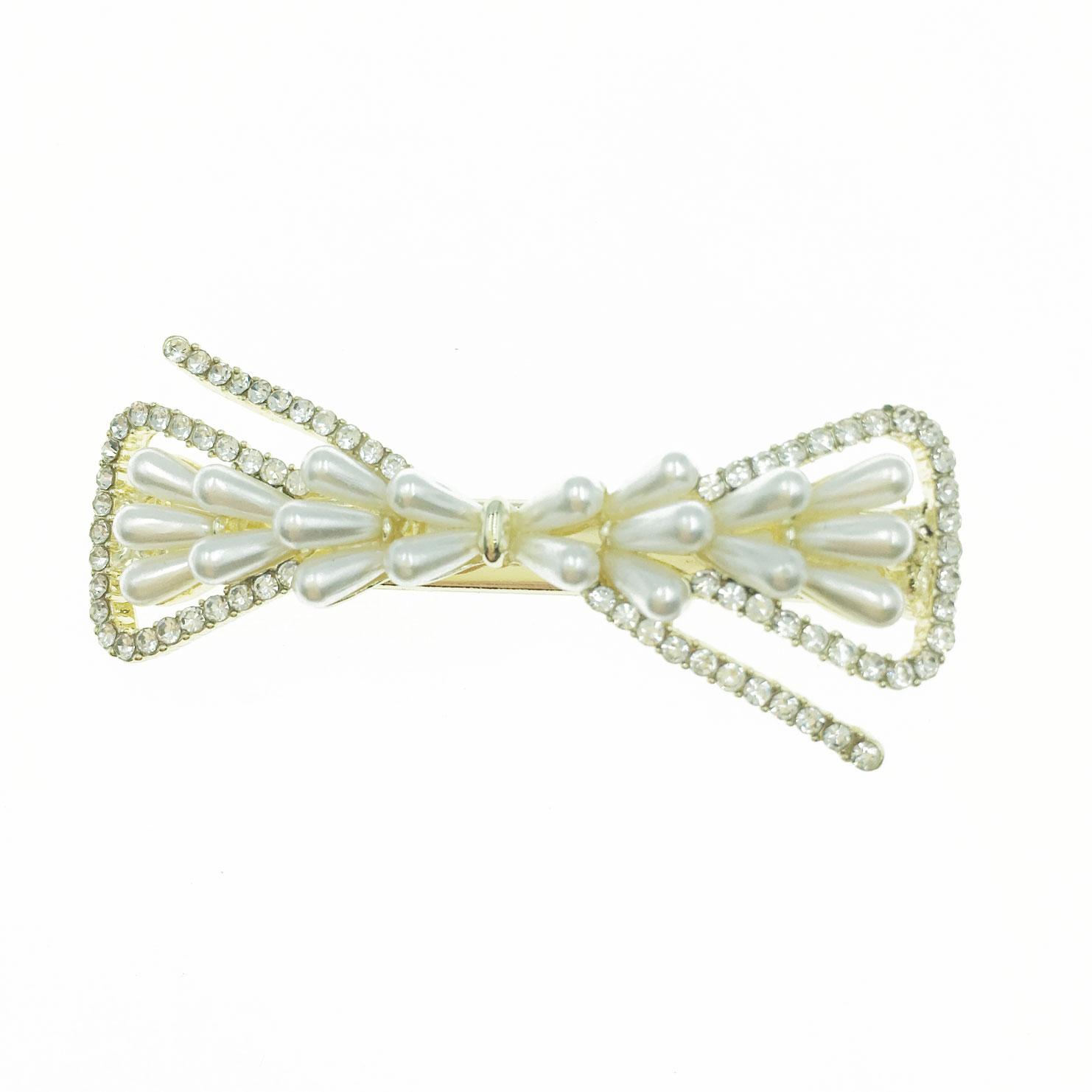 韓國 水鑽 珍珠 蝴蝶結 造型 壓夾 髮飾