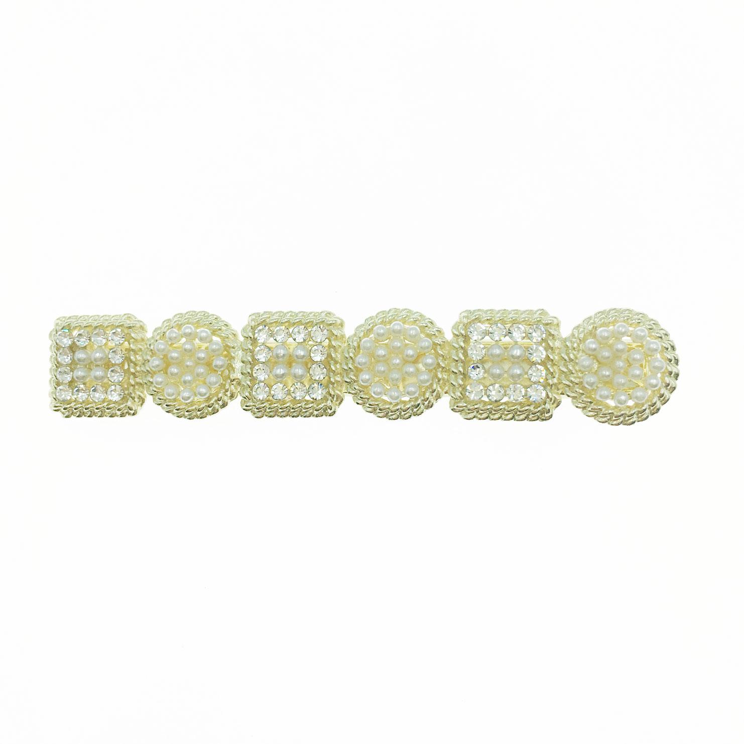 韓國 水鑽 珍珠 幾何圖形 壓夾 髮飾