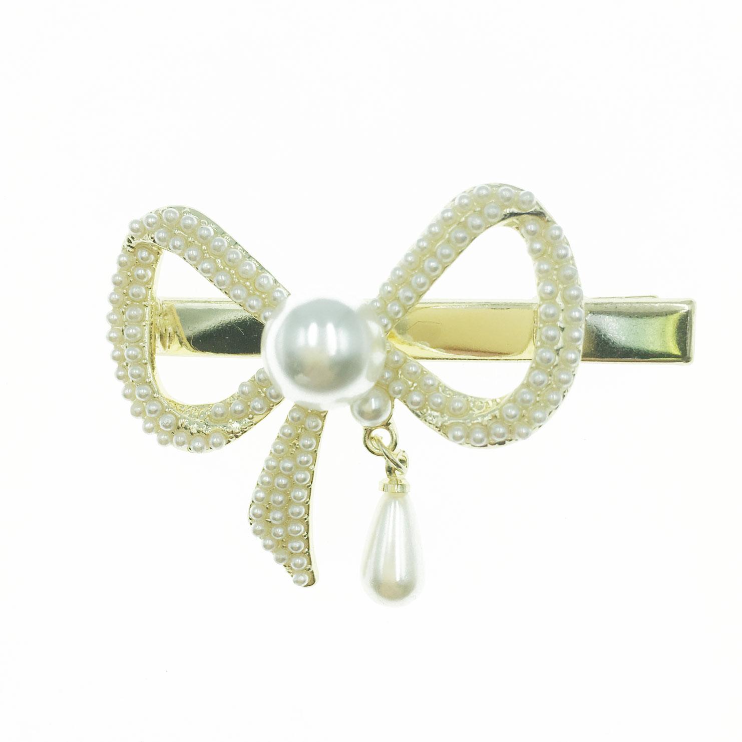 韓國 簍空 蝴蝶結 垂墜 珍珠 造型 壓夾 髮飾