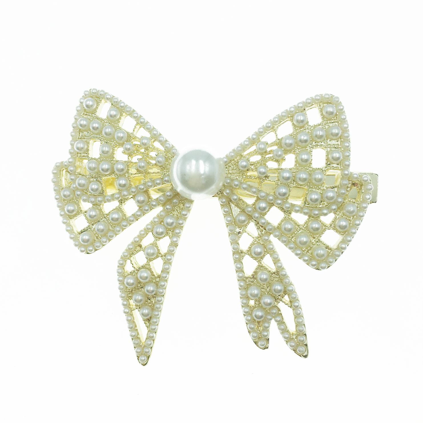韓國 珍珠 大 蝴蝶結 造型 壓夾 髮飾