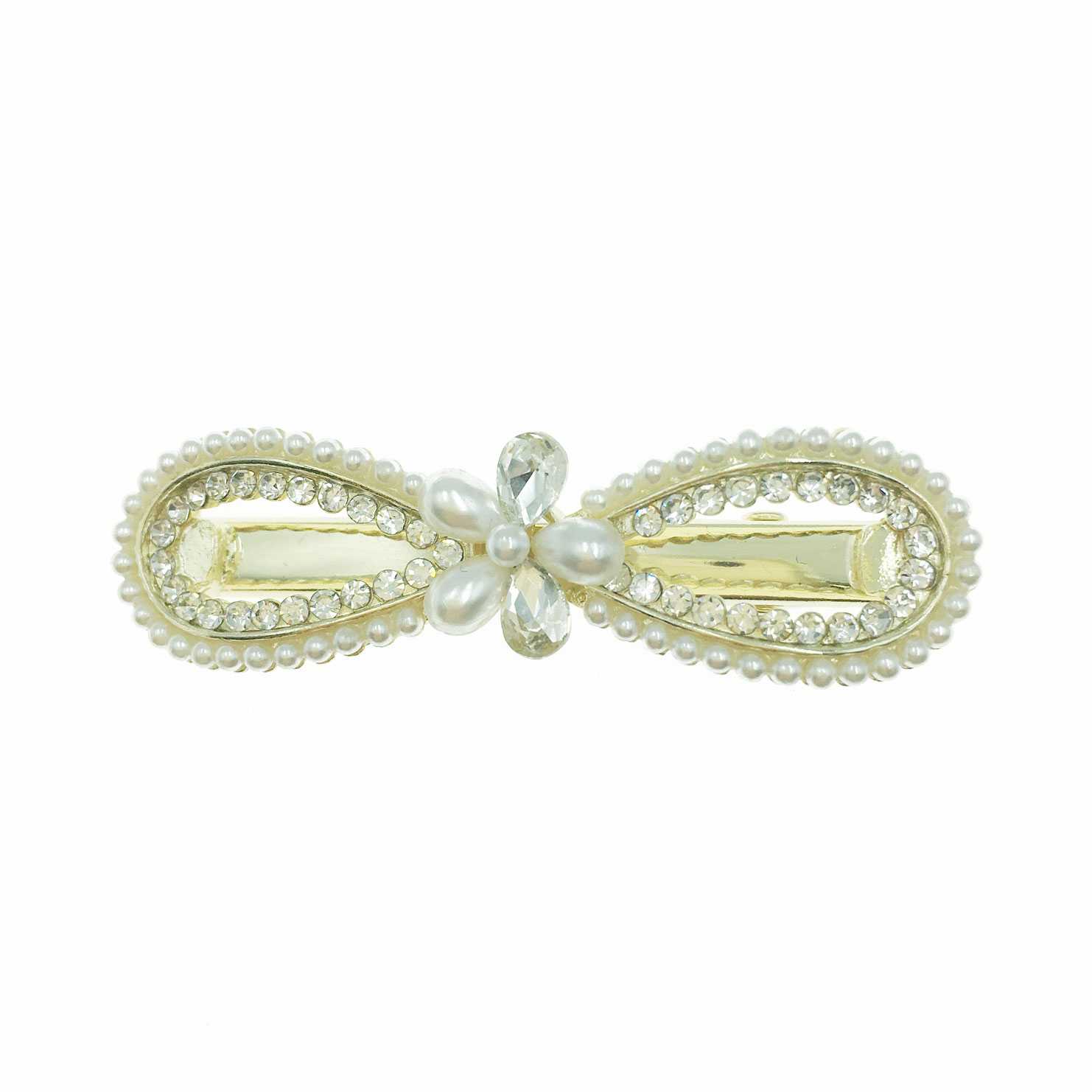 韓國 小花 水鑽 珍珠 簍空 蝴蝶結 造型 壓夾 髮飾