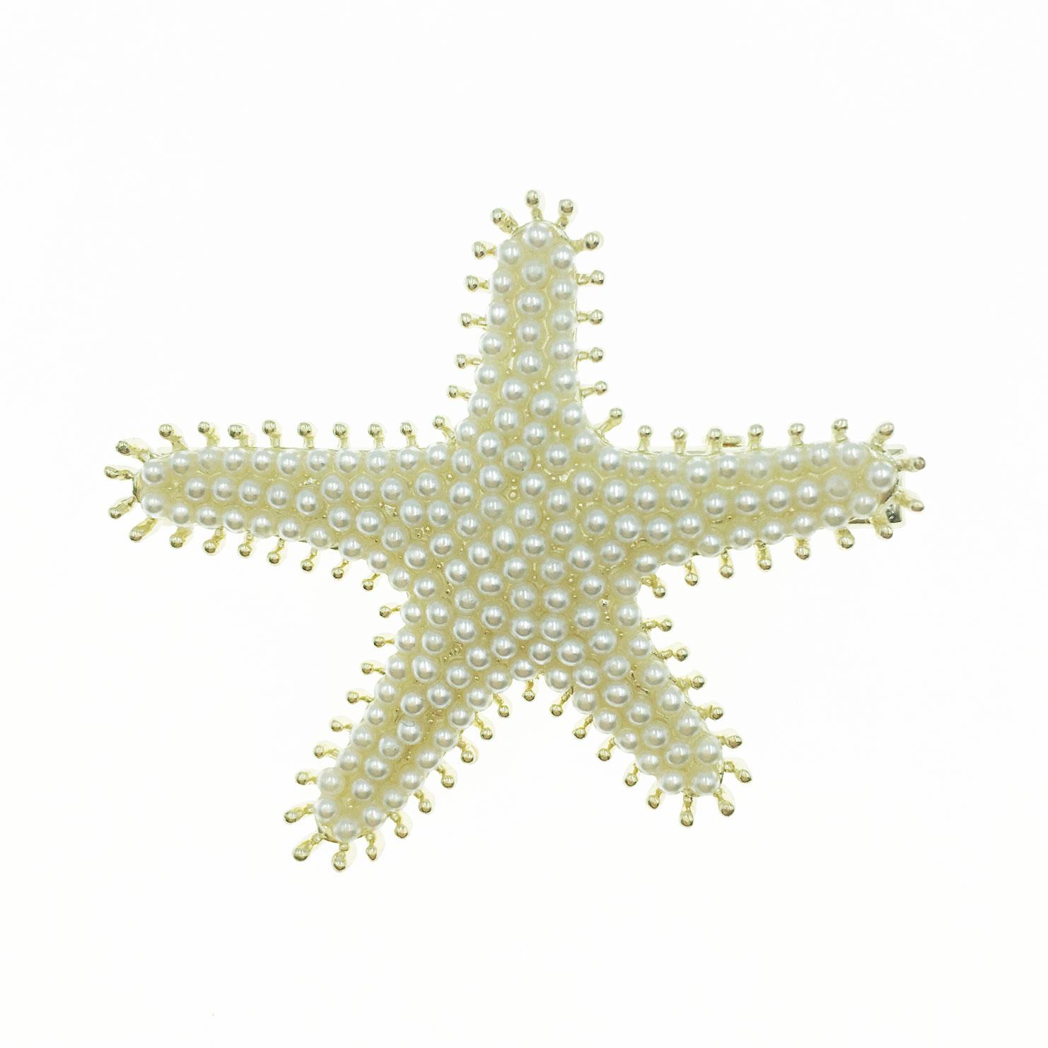 韓國 滿版 珍珠 海星 造型 壓夾 髮飾
