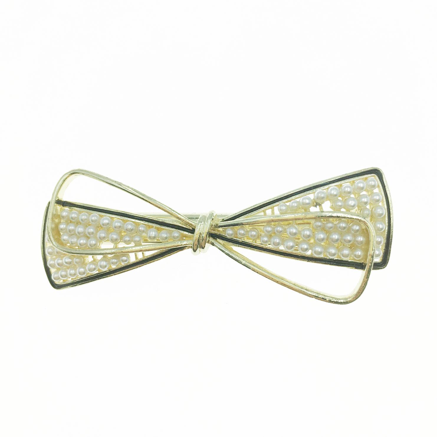 韓國 珍珠 金屬 簍空 雙層 蝴蝶結 造型 壓夾 髮飾