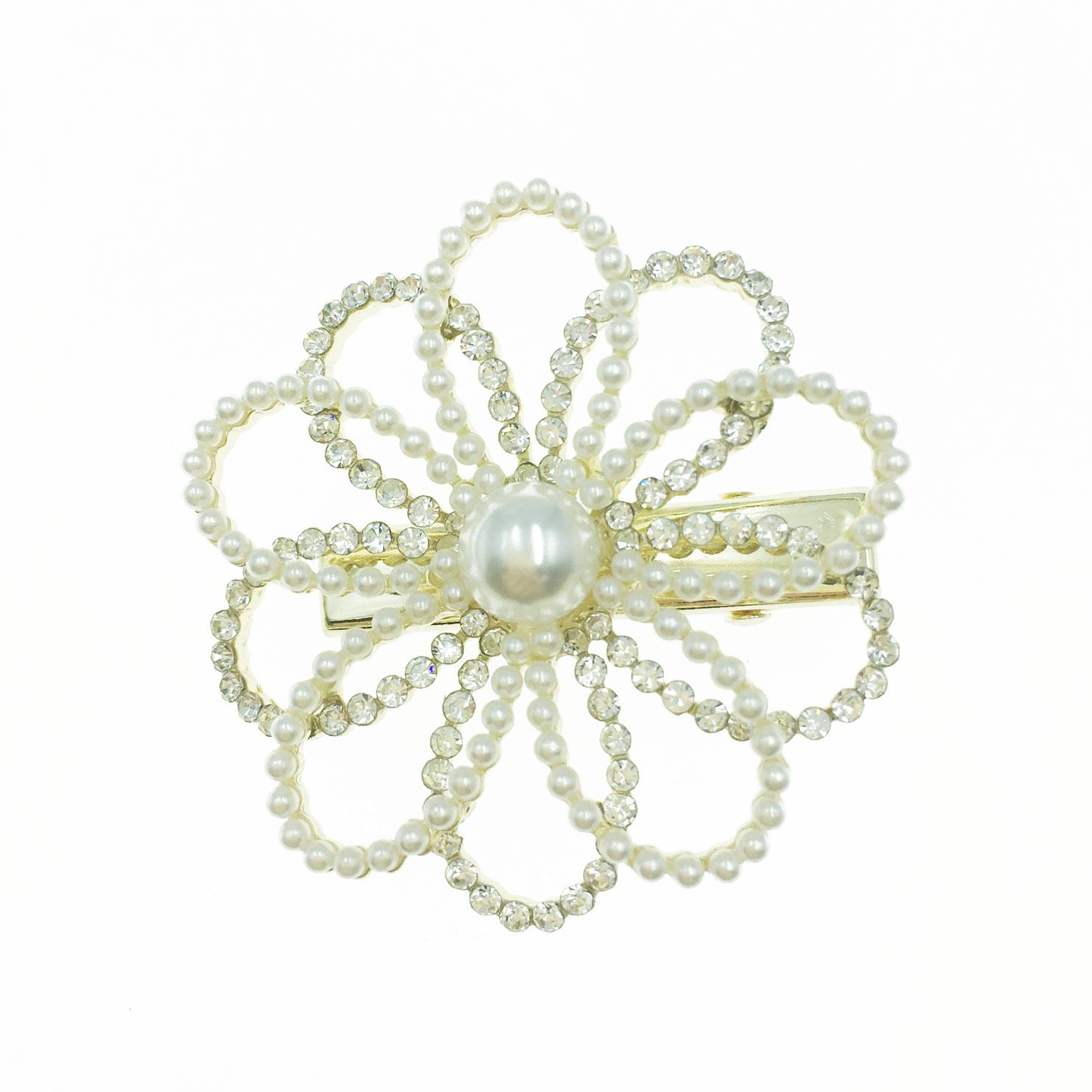 韓國 水鑽 珍珠 雙層 簍空 花朵 造型 壓夾 髮飾