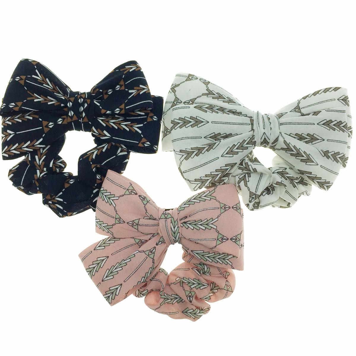 韓國 雙層 絲質 蝴蝶結 民族風 花布 三色 髮束 大腸圈 髮飾