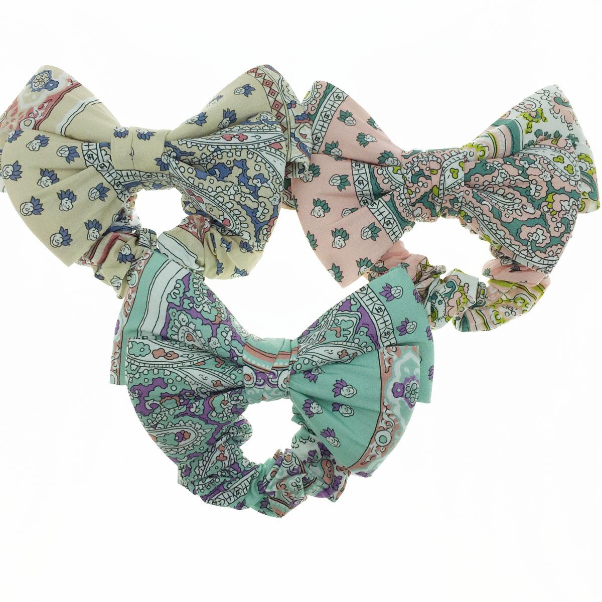 韓國 雙層 絲質 蝴蝶結 花布 三色 髮束 大腸圈 髮飾