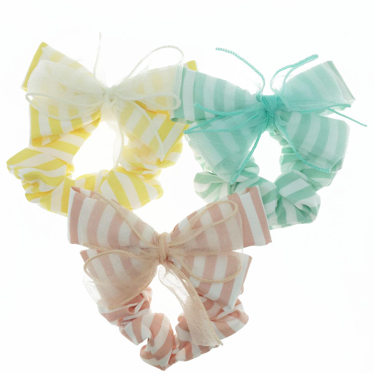 韓國 雙層 絲質 線條 蝴蝶結 三色 髮束 大腸圈 髮飾