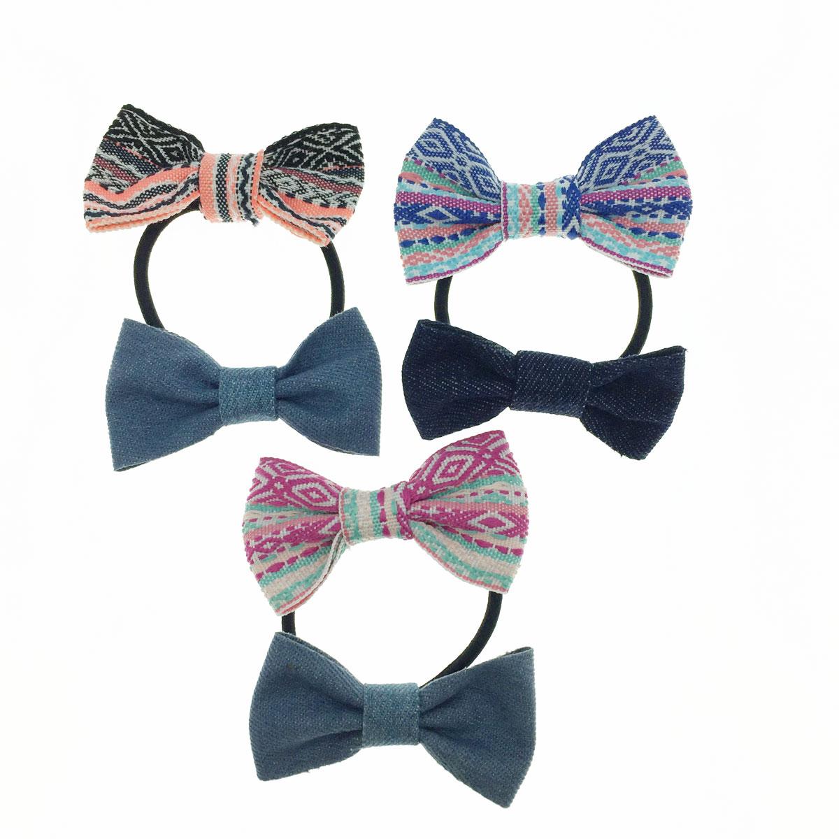韓國 民族風 牛仔 雙蝴蝶結 花布 三色 髮束 髮飾
