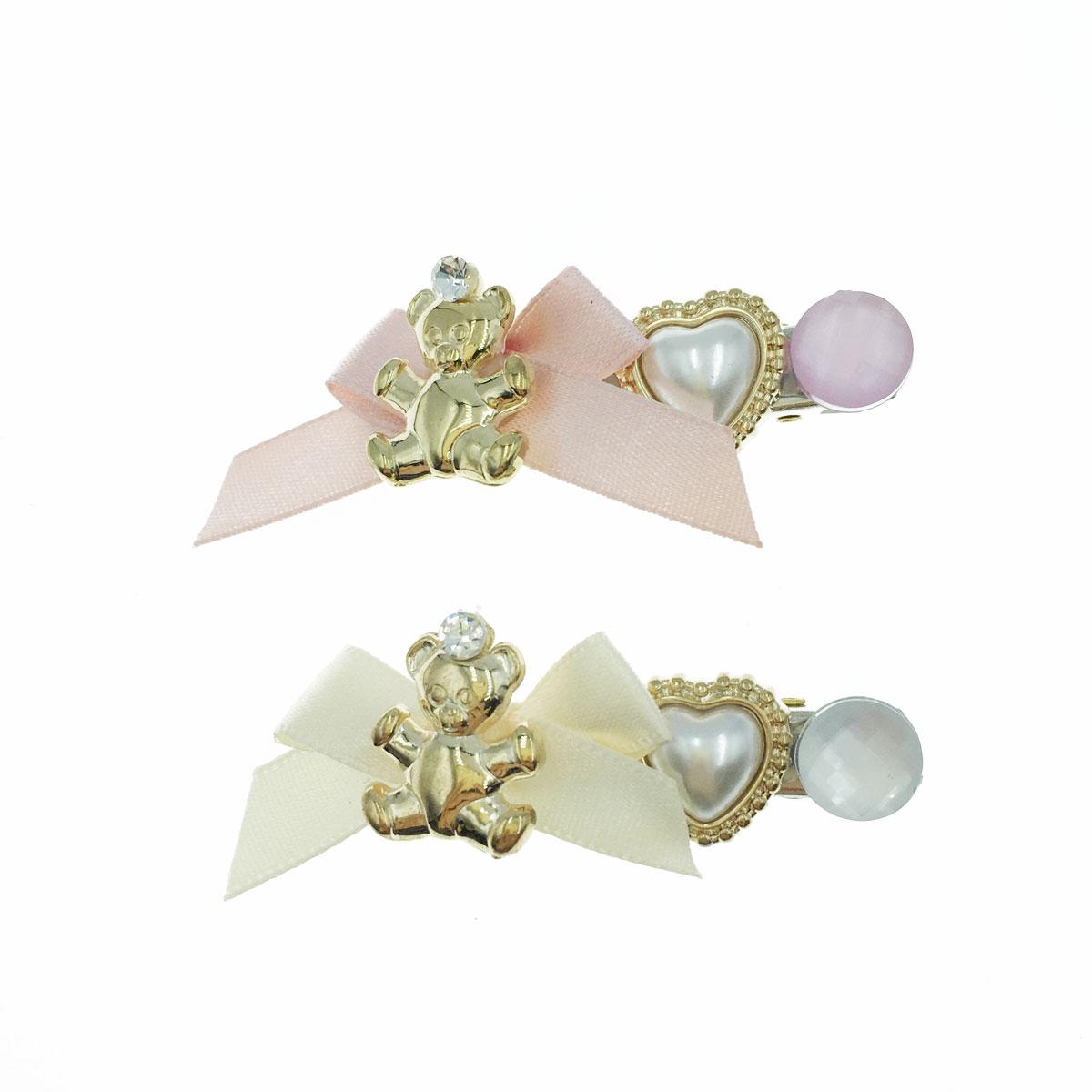 韓國 金色 小熊 緞帶 蝴蝶結 水鑽 珍珠 愛心 壓夾 髮飾