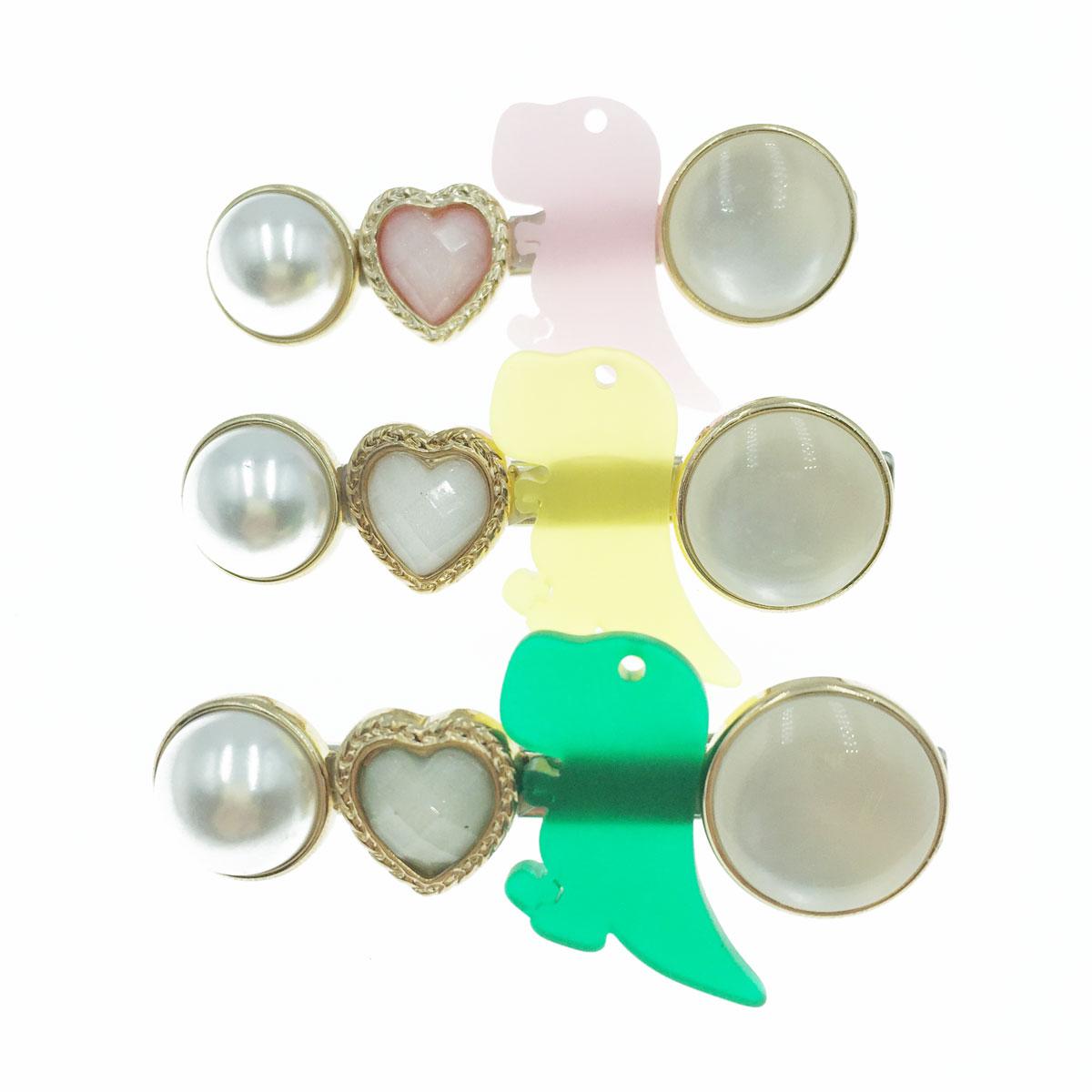 韓國 寶石 愛心 金屬 珍珠 恐龍 造型 三色 壓夾 髮飾