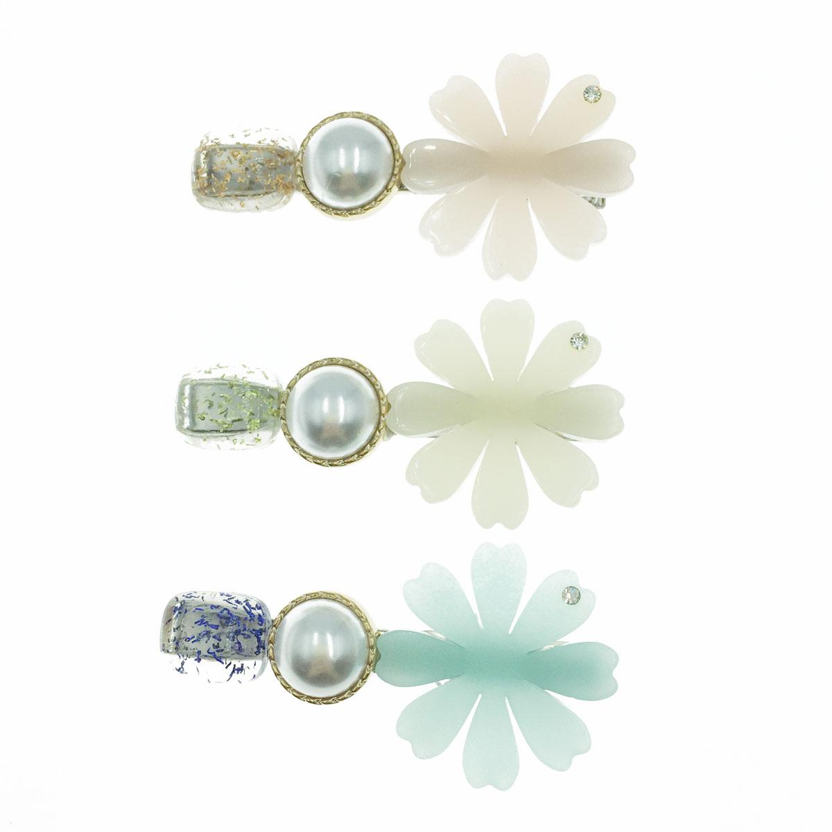 韓國 水鑽 花瓣 金屬 珍珠 三色 壓夾 髮飾