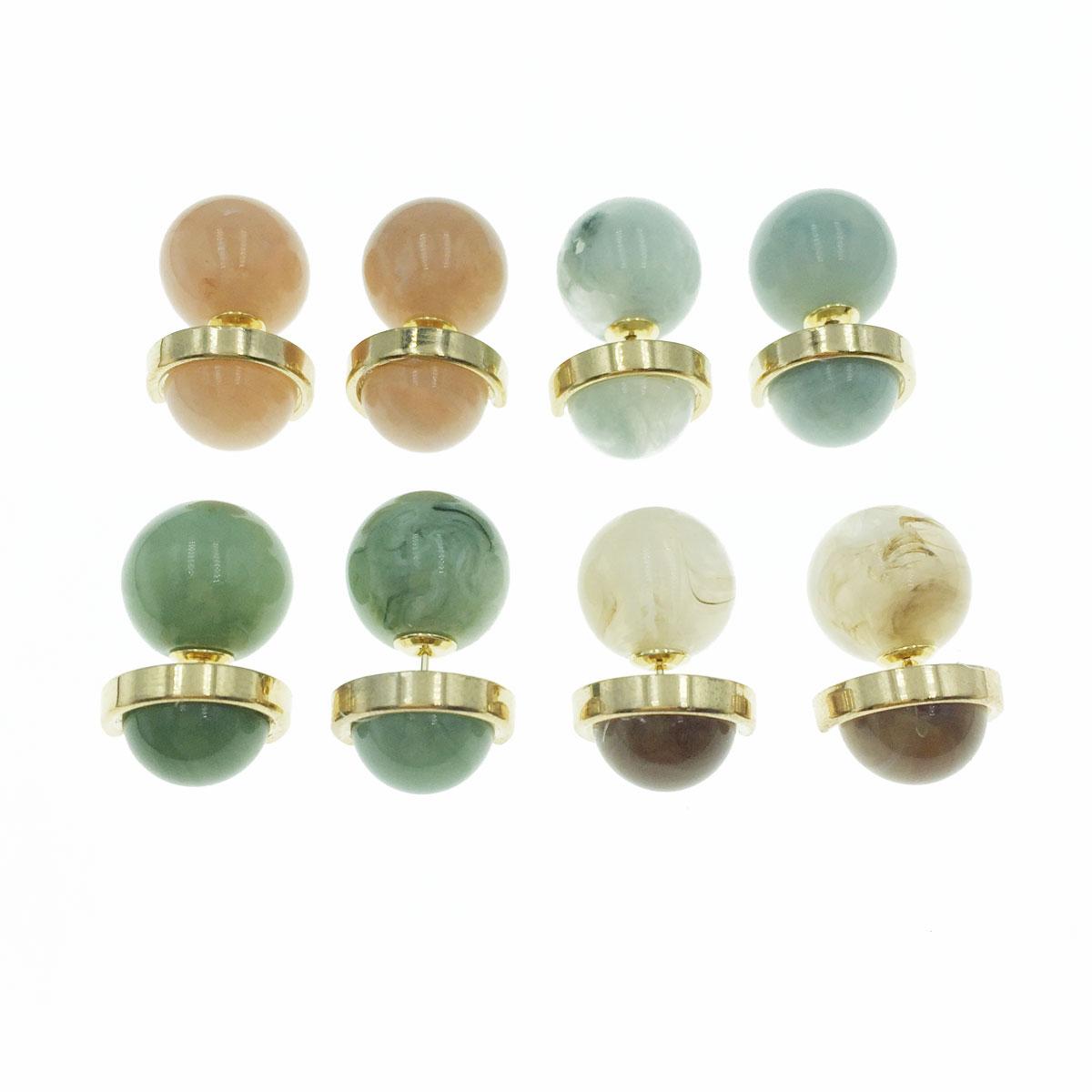 韓國 金屬 琉璃 造型 前後式 二用 耳針式耳環
