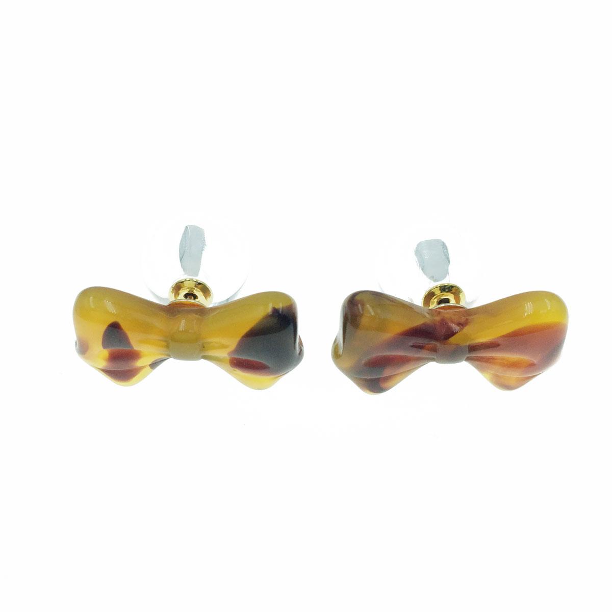 韓國 蝴蝶結 造型 前後式 二用 耳針式耳環
