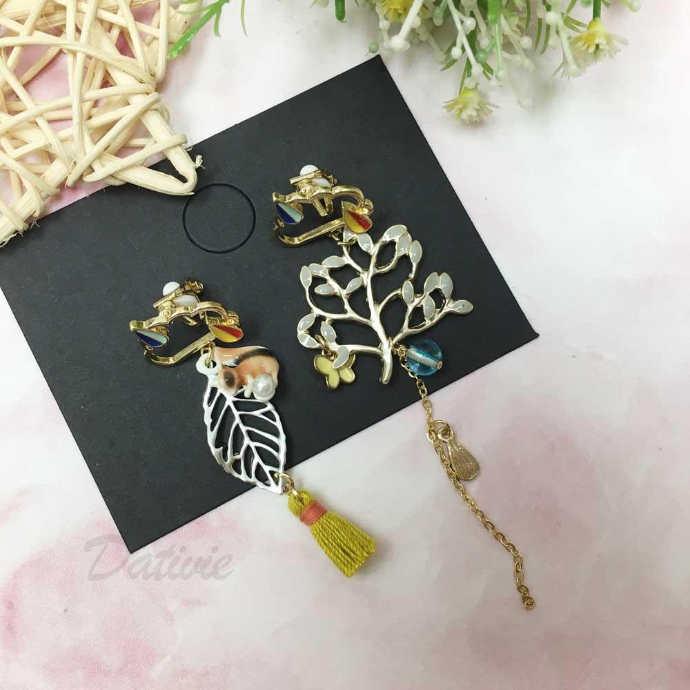 韓國 貓咪 蝴蝶 樹葉 流蘇 不對稱 夾式耳環