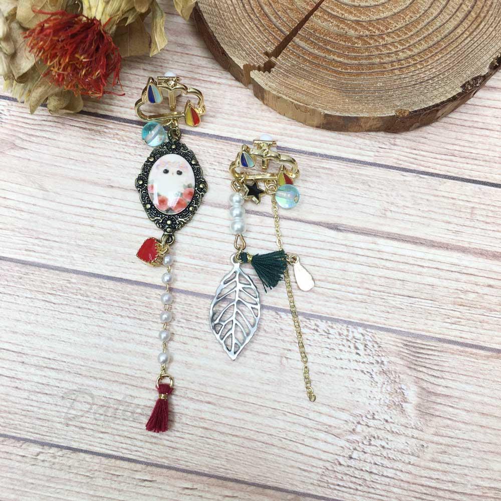 韓國 貓咪 珍珠 愛心 流蘇 葉子 不對稱 夾式耳環