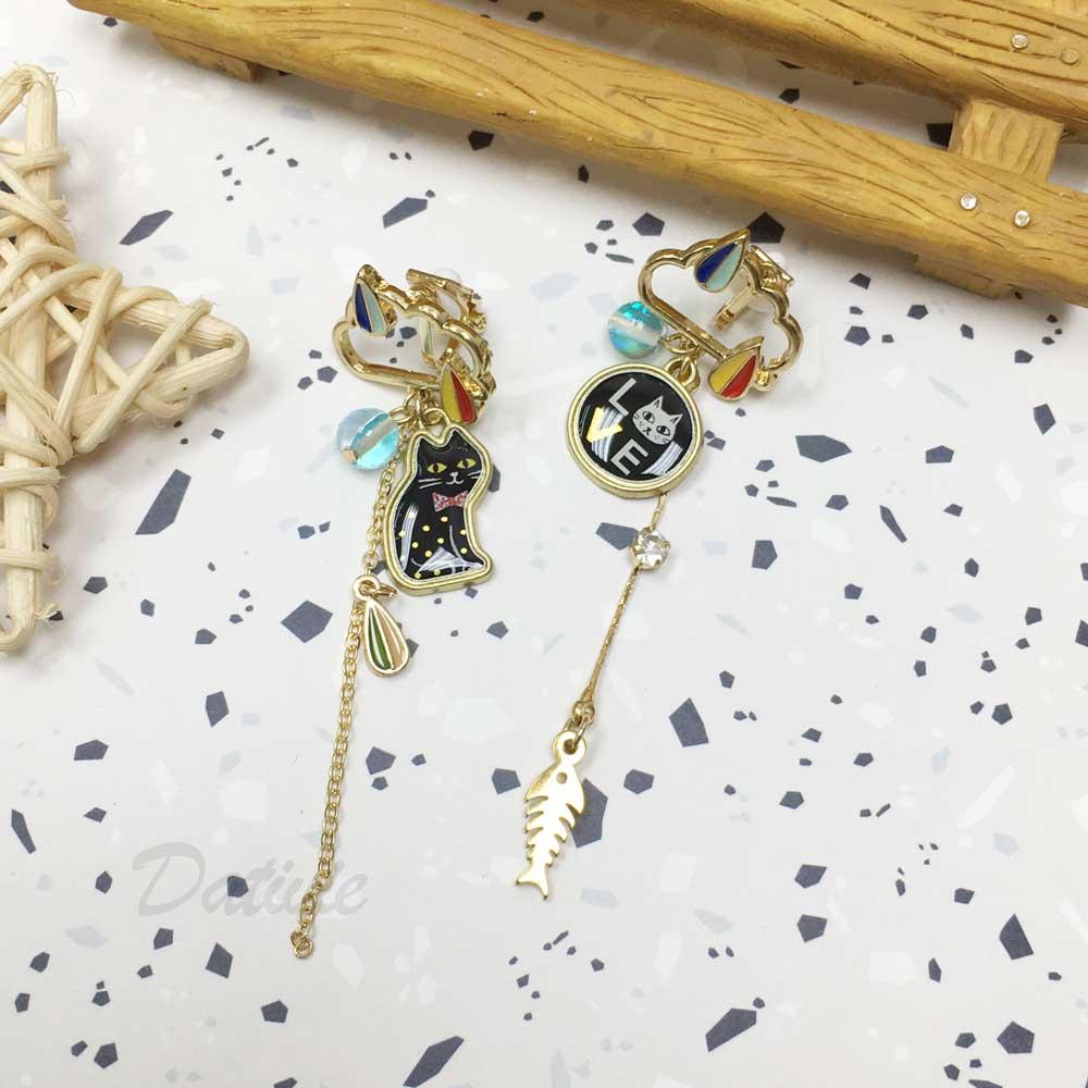 韓國 貓咪 LOVE 魚骨 垂墜 不對稱 夾式耳環