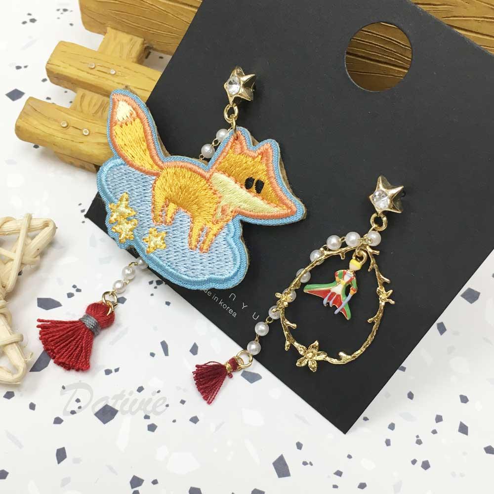 韓國 貓咪 小王子 花圈  珍珠 流蘇 不對稱 燙布 耳針式耳環