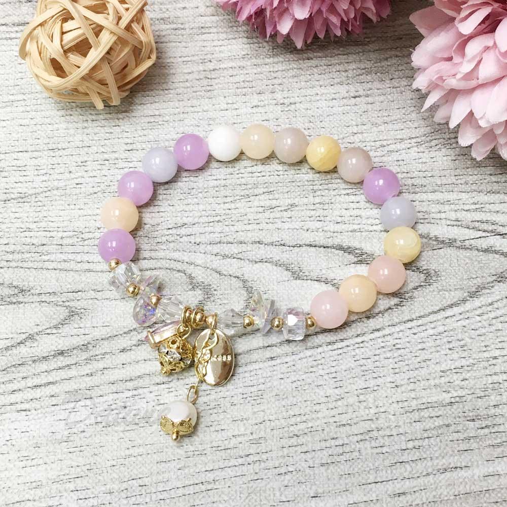 韓國 水晶 彩色 串珠 水鑽球 墜飾 手鍊