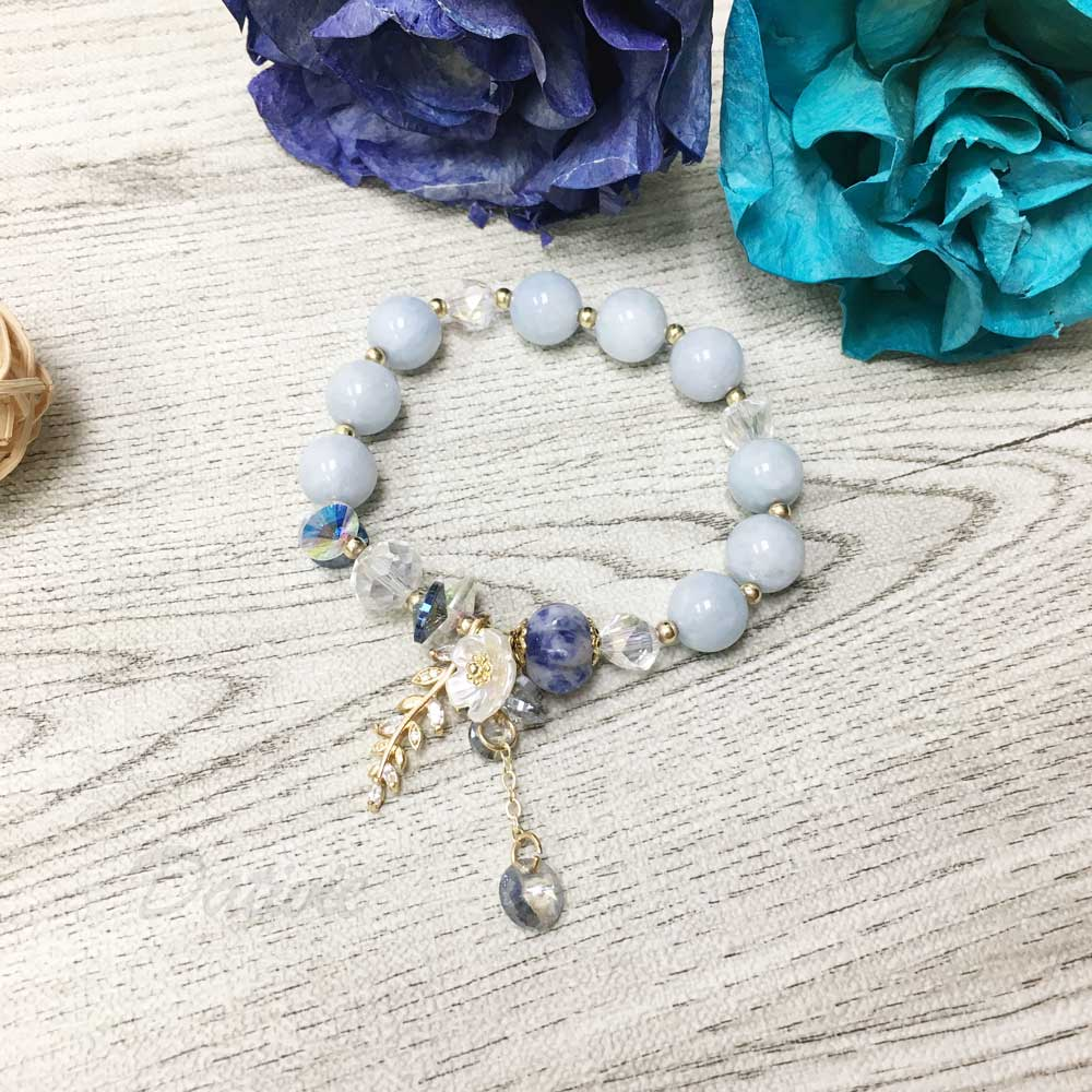 韓國 水晶 灰藍 串珠 小花 水鑽 葉子 墜飾 手鍊