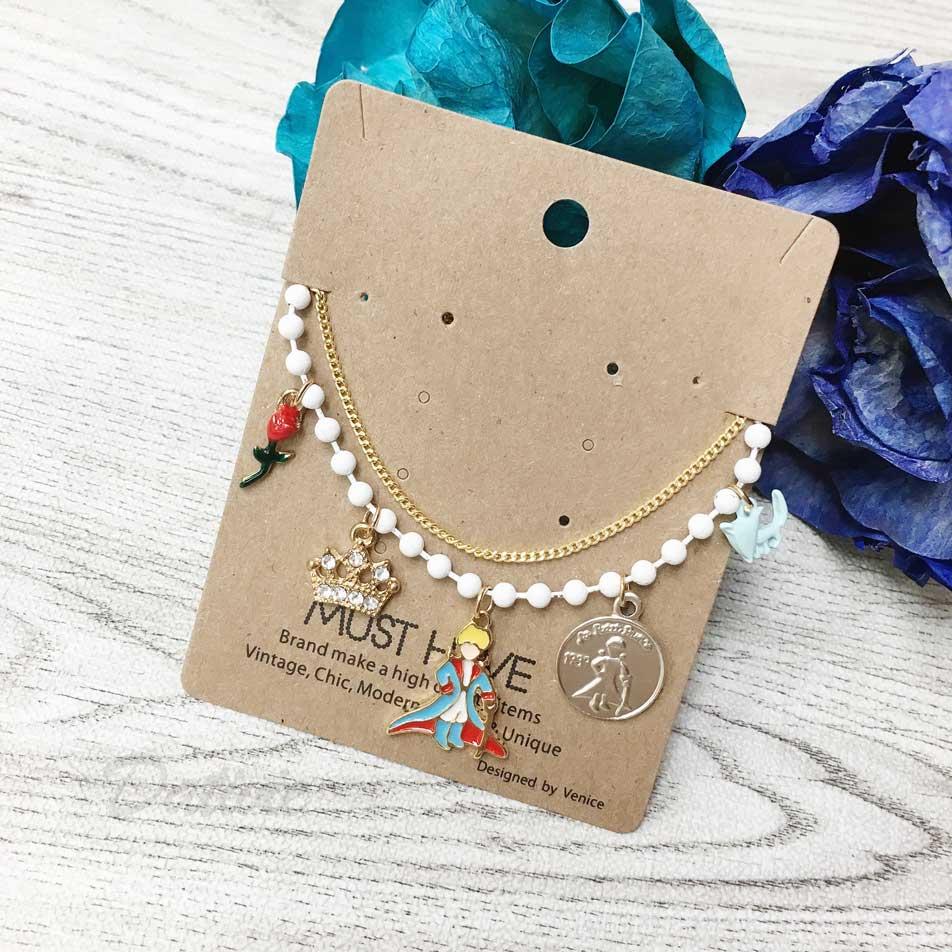 韓國 玫瑰花 水鑽 皇冠 小王子 銀幣 狗 墜飾 金鍊條 手鍊