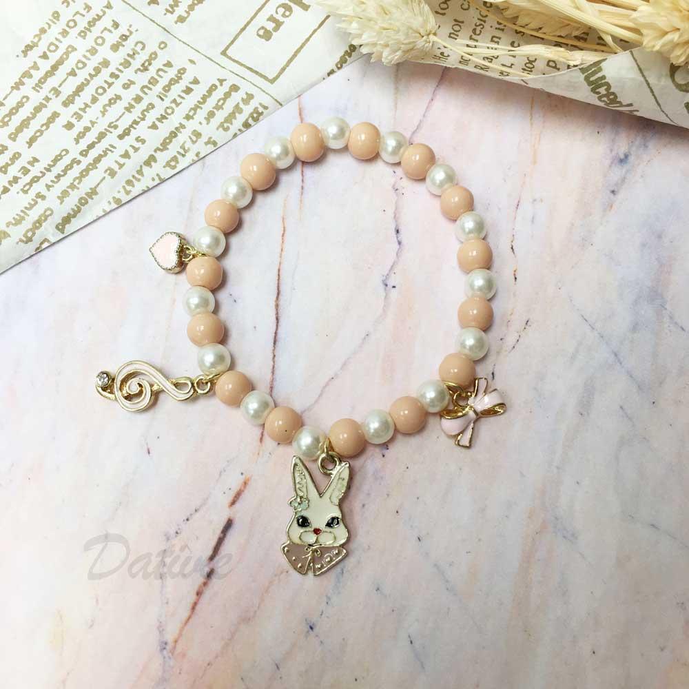 韓國 彩色 珍珠 串珠 水鑽 音符 蝴蝶結 鬥牛犬 墜飾 手鍊