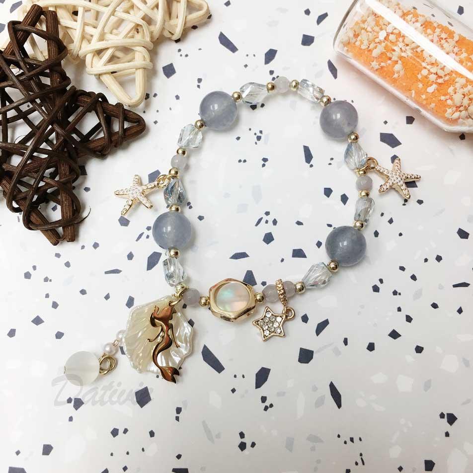 韓國 水晶 串珠 海星 人魚 貝殼 墜飾 手鍊