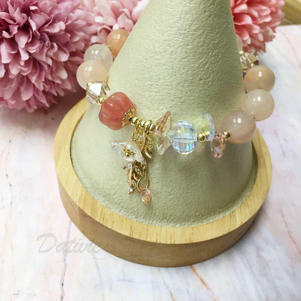 韓國 水晶 彩色 串珠 小花 水鑽 葉子 墜飾 手鍊