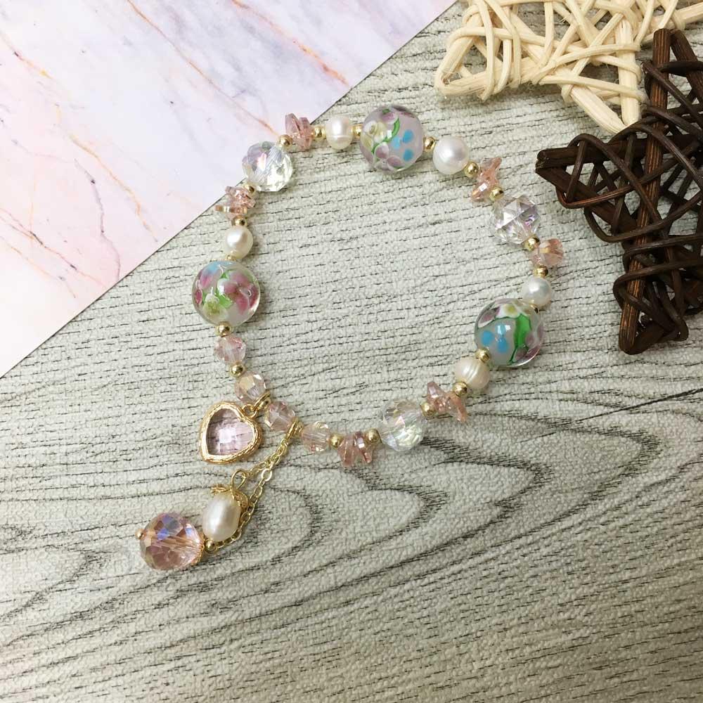 韓國 串珠 水晶 琉璃 珍珠  愛心 墜飾 手鍊