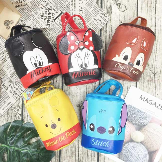 圓筒側背包 迪士尼 米奇 米妮 小熊維尼 奇奇蒂蒂 史迪奇 造型背包 正版授權