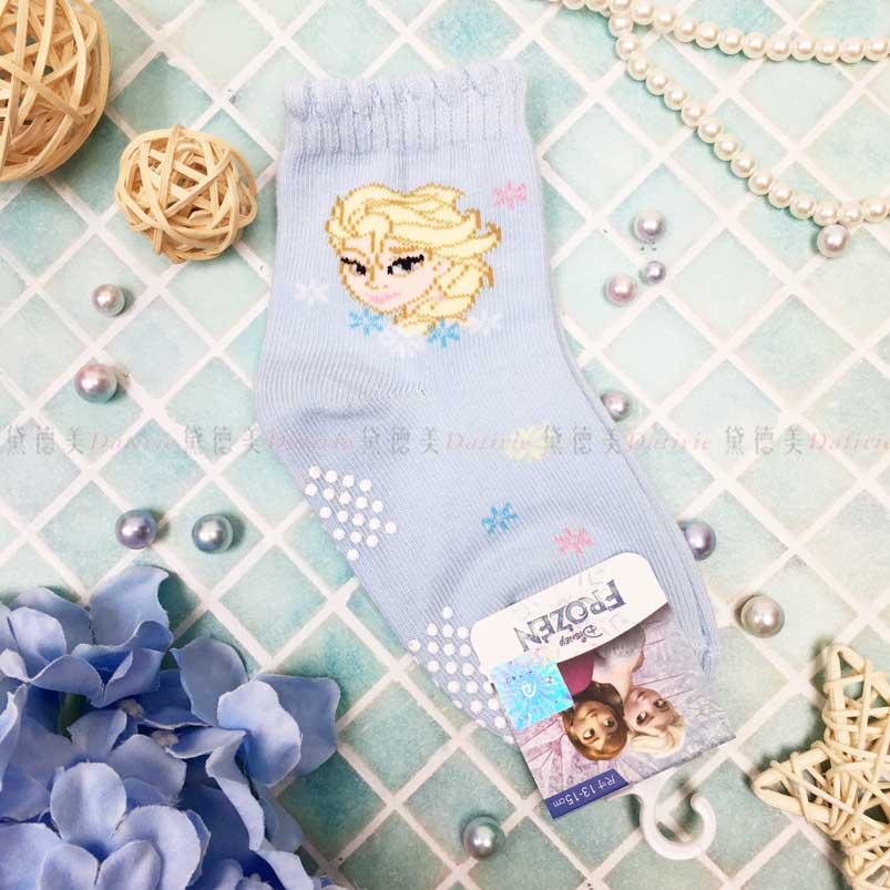 止滑童襪 迪士尼 冰雪奇緣 Elsa 藍色 寶寶短襪 幼童短襪 正版授權
