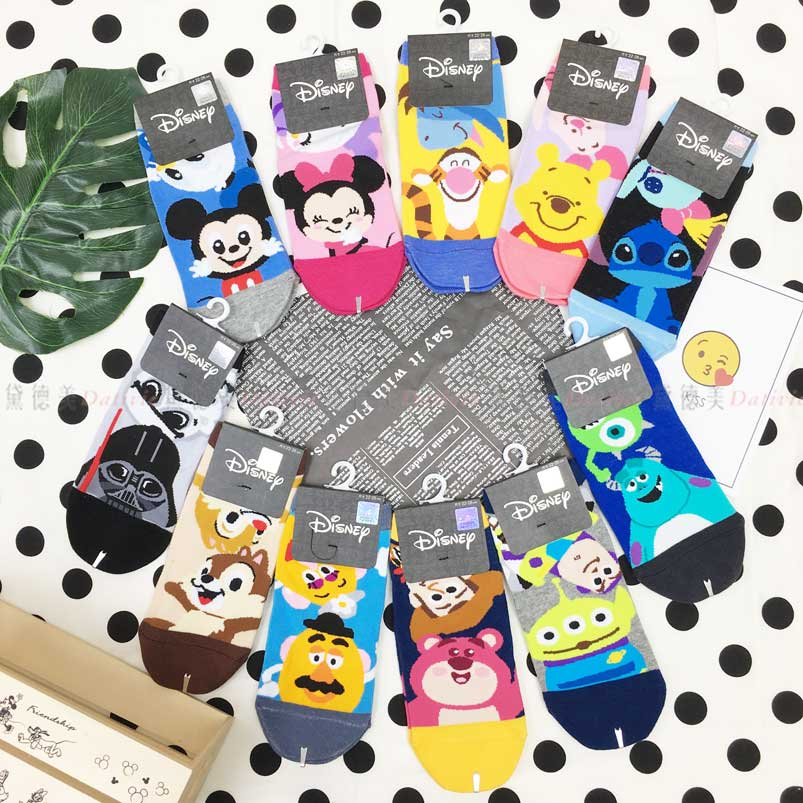 22~26cm短襪 迪士尼 皮克斯 小熊維尼 星際寶貝 玩具總動員 星際大戰 直版襪 正版授權