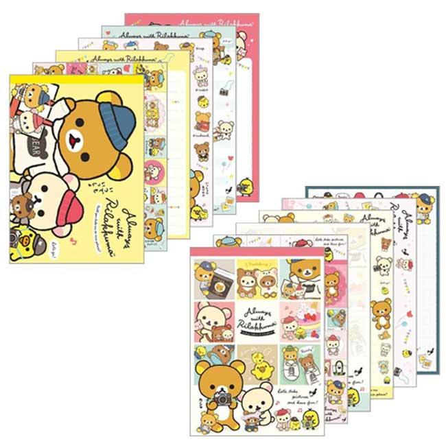 彩色便條本附貼紙 日本 SAN-X 拉拉熊 懶懶熊 茶小熊 甜心熊 小黃雞 2款 Memo紙 日本進口正版授權
