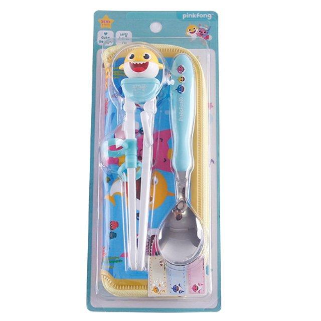 BabyShark 造型學習筷匙組附袋(鯊魚) 韓國製
