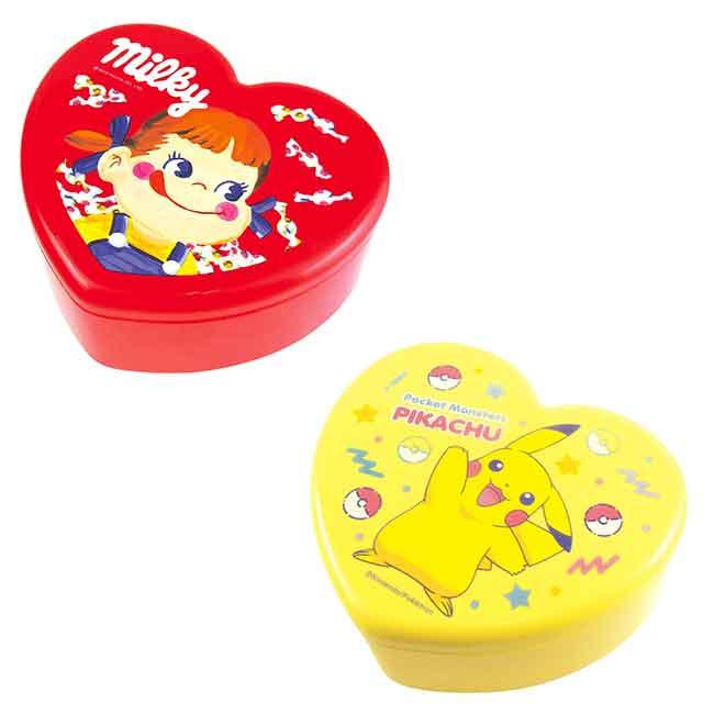 牛奶妹 皮卡丘 心型雙層附鏡收納盒 兩款 日本進口