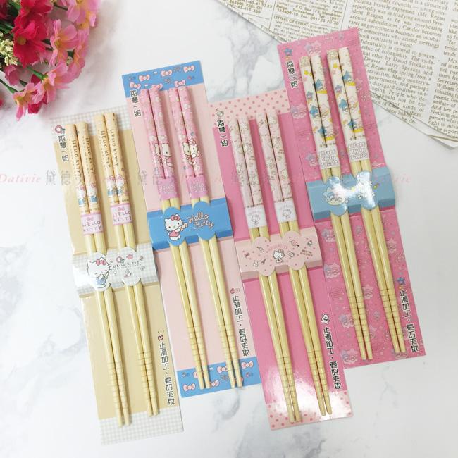 三麗鷗 兩雙入竹筷 餐具 四款 正版授權