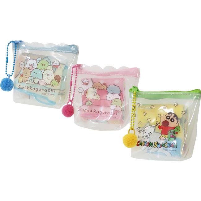 小方巾附收納包 SAN-X 角落生物 角落小夥伴 蠟筆小新 小毛巾附透明包 日本進口正版授權