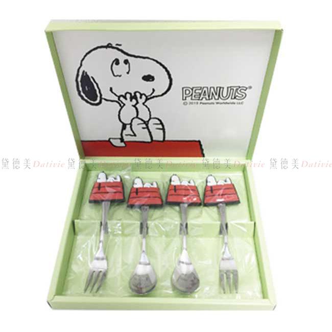 甜點叉匙組四入 SNOOPY 史努比 造型叉匙組 日本進口正版授權