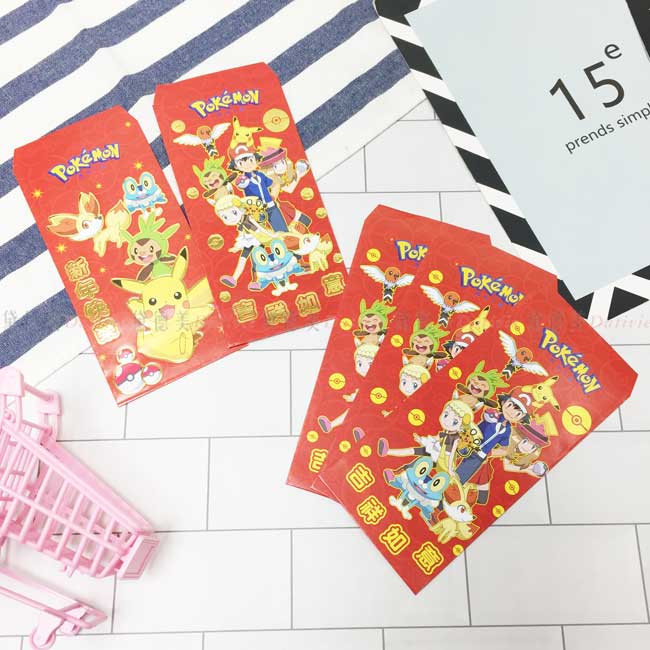 5入燙金紅包袋 精靈寶可夢 春節紅包袋 正版授權