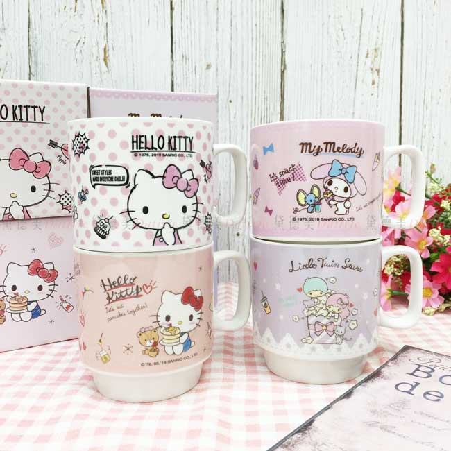 300ml疊疊馬克杯 三麗鷗 Hello Kitty 凱蒂貓 KT貓 美樂蒂 kikilala 造型杯子 正版授權