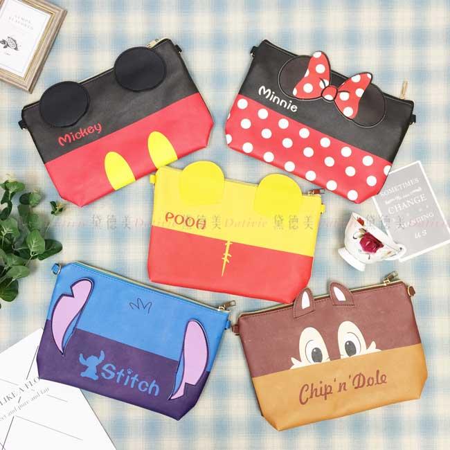 側背包 迪士尼 米奇米妮 小熊維尼 史迪奇 奇奇 5款 造型側背包 正版授權